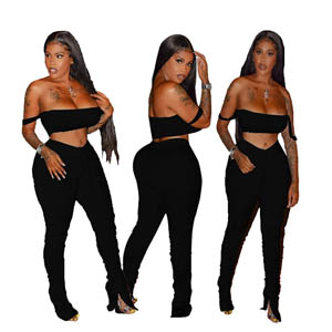 Sexy Strap Crop Top + Skinny Stacked Long Sweatpants Tracksuits Set MH13447